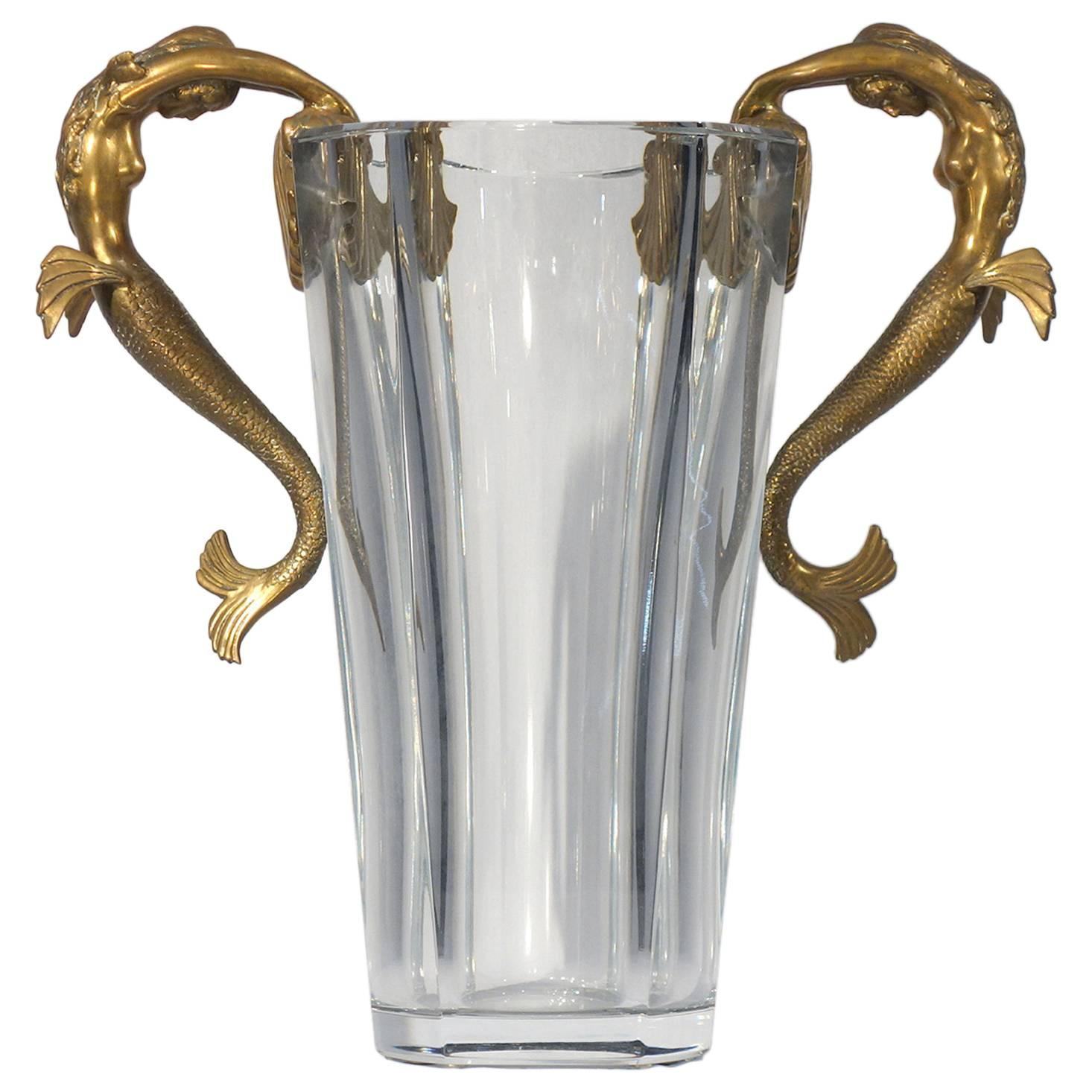 Baccarat Crystal Vase Embellished With Bronze Sea Maidens