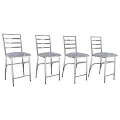 Chrome Bar/ Counter Stools in Graphic Black & White Twill Upholstery Set of Four