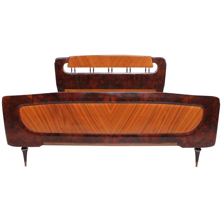 Mid Century Italian Modern attributed to Borsani Bed Frame For Sale