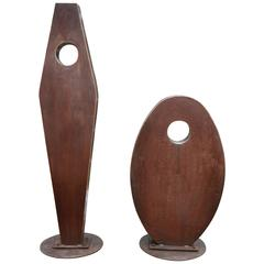 Pair of Bronze Abstract Outdoor Sculpture in the Style of Jean Arp, circa 1970
