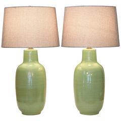 Pair of Vintage Celadon Green Flambe Studio Pottery Lamps