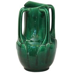Awaji Pottery Art Nouveau Four Handle Buttress Vase