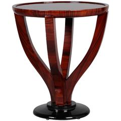 Art Deco Round Palisander Table on Pedestal Base