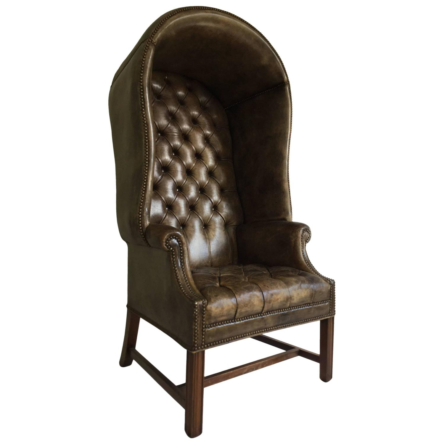 Leather Porters Chair Tufted Chesterfield Sofa Wingback At