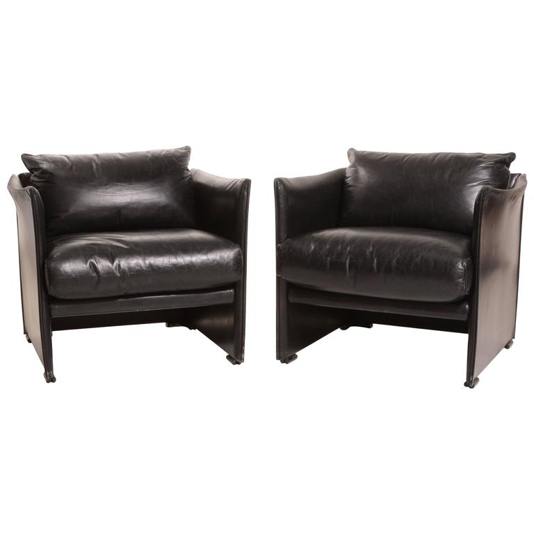 Pair of Black Leather Armchairs by Vico Magistretti for Cassina