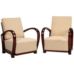Pair of Art Deco Chairs with Curved Palisander Arms