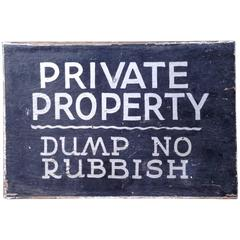 Hand-Painted Rubbish Sign