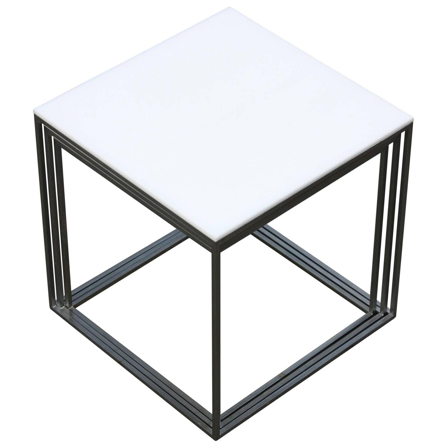 Poul Kjærholm White PK71 Nesting Tables By E. Kold Christensen 1957 . Full resolution  image, nominally Width 1500 Height 1500 pixels, image with #3A5791.