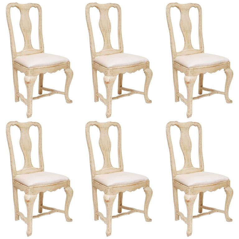 Set of Six Swedish Gustavian Period Dining Chairs