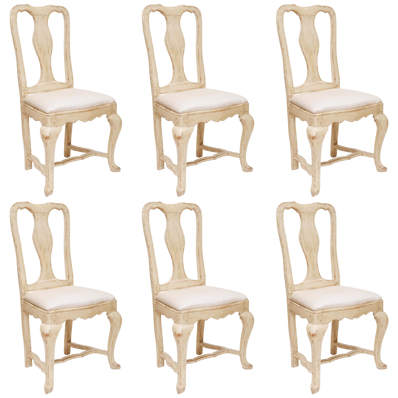 Set of Six Swedish Gustavian Period Dining Chairs