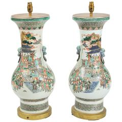 Pair of 19th Century Chinese Vases / Lamps