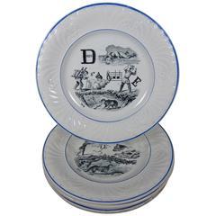 19th C. French Creil et Montereau Transferware Rebus Puzzle Dessert Plates, S/6