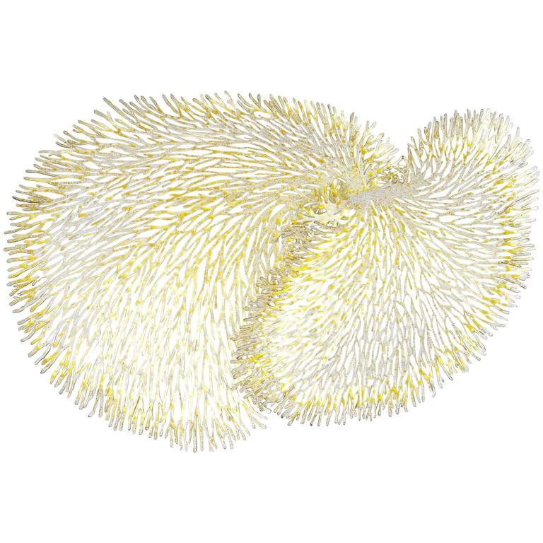 White and Gold Iron Coral Wall Sculpture