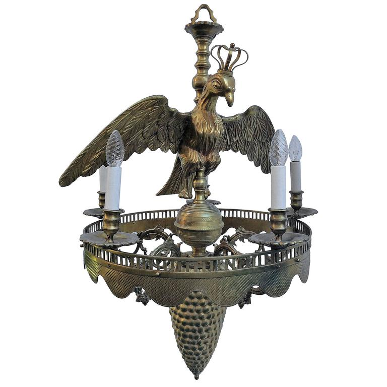 Empire Bronze Chandelier with Crowned Eagle and Columbine Cup, 19th Century