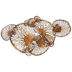 Red and Gold Lotus Iron Wall Sculpture