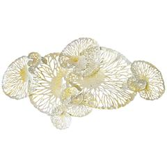 White and Gold Lotus Iron Wall Sculpture