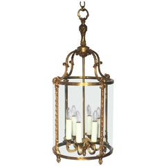 Large French Six-Light Hanging Lantern of Gilt Metal and Glass (13 1/2 Diameter)