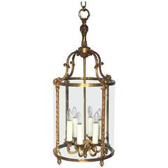 Large French Six-Light Hanging Lantern of Gilt Metal and Glass