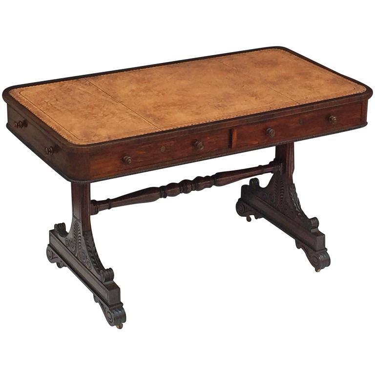 Scottish Library Table of Rosewood with Leather Top For Sale