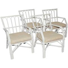 Four Wicker Rattan Dining Armchairs