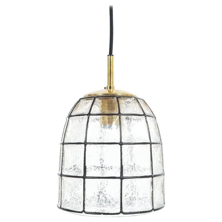 Iron and Glass Pendant Lamp with polished brass by Limburg, 1960
