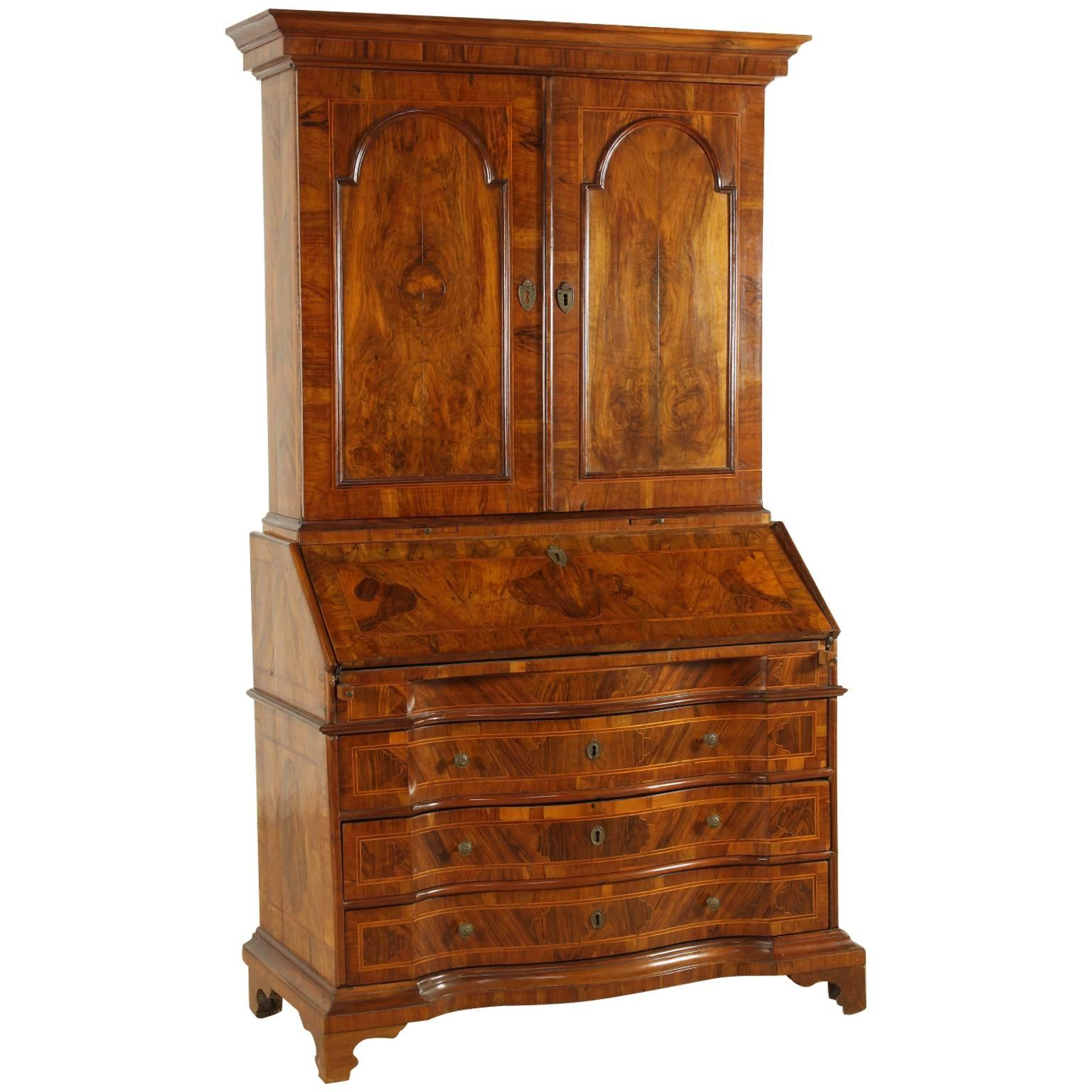 Late 18th Century Neoclassical Walnut and Olivewood Drop-Leaf Chest of Drawers