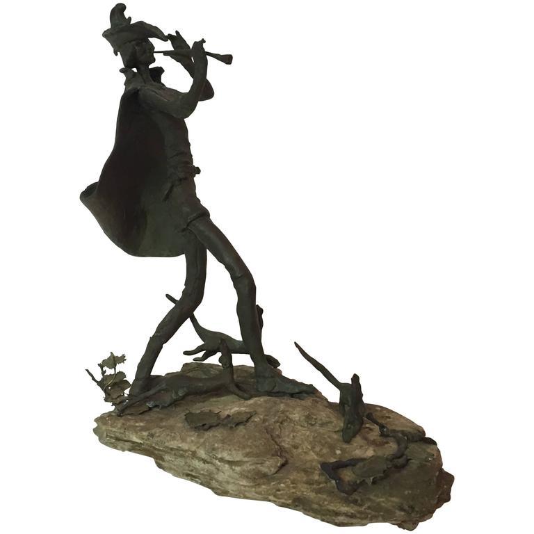 Modernist Pied Piper of Hamelin Bronze Sculpture
