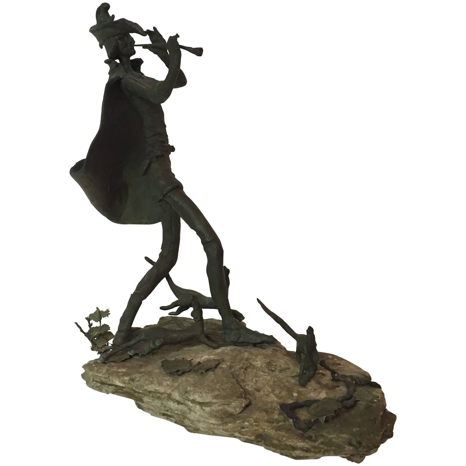 Abstract Mexican Farmer Carved Sculpture California Modernist - This beautiful bronze sculpture has been attached to a tree since 1968