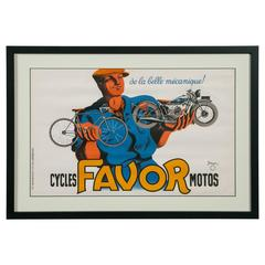Original 'Cycles Favor Motos' Advertising Poster by Bellenger, 1937, France