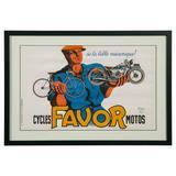 Original 'Cycles Favor Motos' Advertising Poster by Bellenger, 1937, France