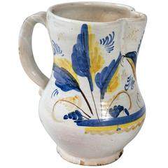 French Faience Pottery Pitcher, circa 1900