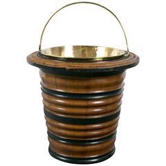 Dutch Walnut and Brass Peat Bucket, Early 19th Century