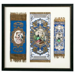 """Antique Advertising or Display Banners """"Sucre De Pomme,"""" France, circa 1880"""