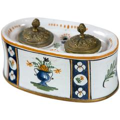 French Faience Inkwell, Late 19th Century