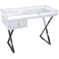 """Lucite Object D'art Lacquer and Metal """"X"""" Base Desk by AMK for Patricia Kagan"""