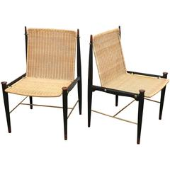 Pr Frank Kyle Mexican Mid Century Modernist Wood, Brass & Wicker Lounge Chairs