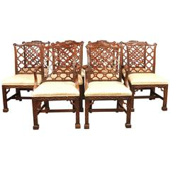 Ten Mahogany Chinese Chippendale Style Dining Chairs Gothic