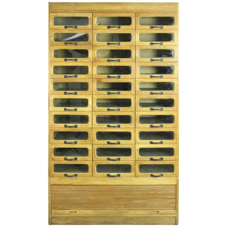 Vintage Oak Midcentury 30 Drawer Haberdashery Cabinet Shop Display 1