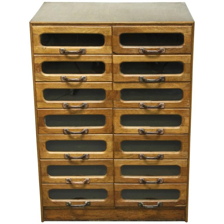 Vintage Oak Midcentury 14-Drawer Haberdashery Cabinet Shop Display ...