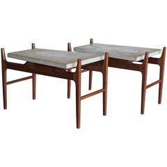 Pair of Harvey Probber Terrazzo Floating Top Tables