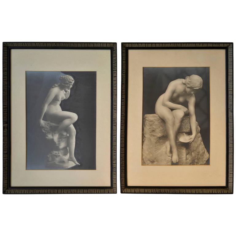 Pair of Vintage Silver Gelatin Prints of Nudes in Period Frames