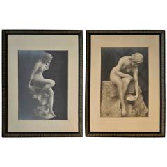 Pair of Vintage Silver Gelatin Prints of Nudes in Period Frames