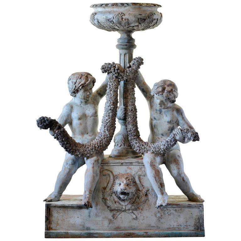 Exceptional Late 19th Century Bronze Garden Fountain With Garden Urn 1