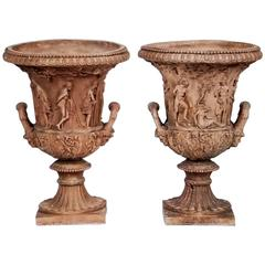 Pair of Late 18th-Early 19th Century Terra Cotta Urns in High Bacchanalian Relie