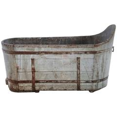 Antique French Wood Plank Tub with Metal Strap