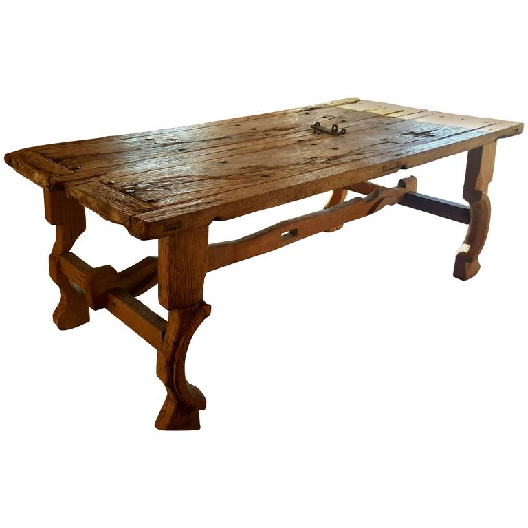 Superior Antique Trestle Table Made From An 18th Century Church Door 1