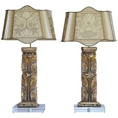 Pair of 17th Century Portuguese Altar Fragment Repurposed Lamps