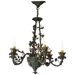 Vintage Six-Arm Chandelier with Roses, Vines and Leaves