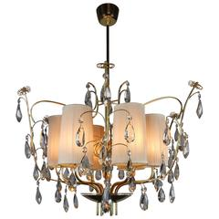 Paavo Tynell, Rare and Large Brass and Crystal Six Light Chandelier