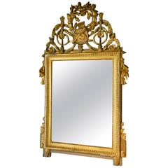 Louis XVI Late 18th Century Giltwood Carved Wall Mirror